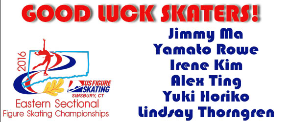 GOOD LUCK TO OUR SKATERS HEADING TO EASTERN SECTIONALS!